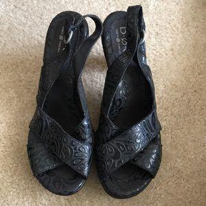 Textured Black Heels Size 10